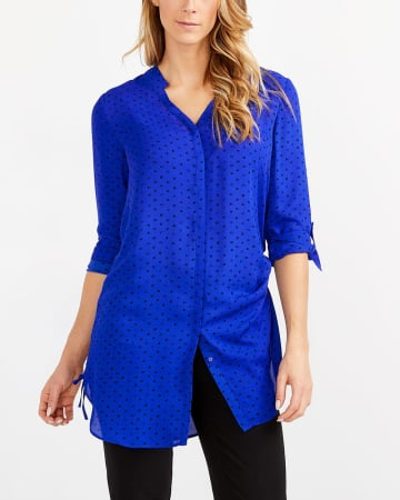 Ruched Side Printed Tunic Top