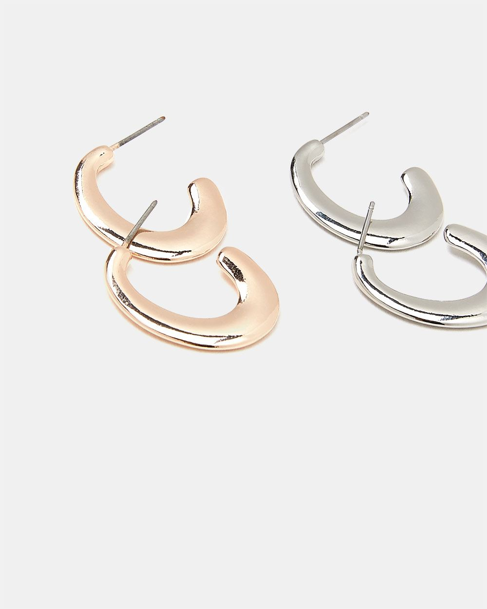2-pair Set of Thick Hoop Earrings