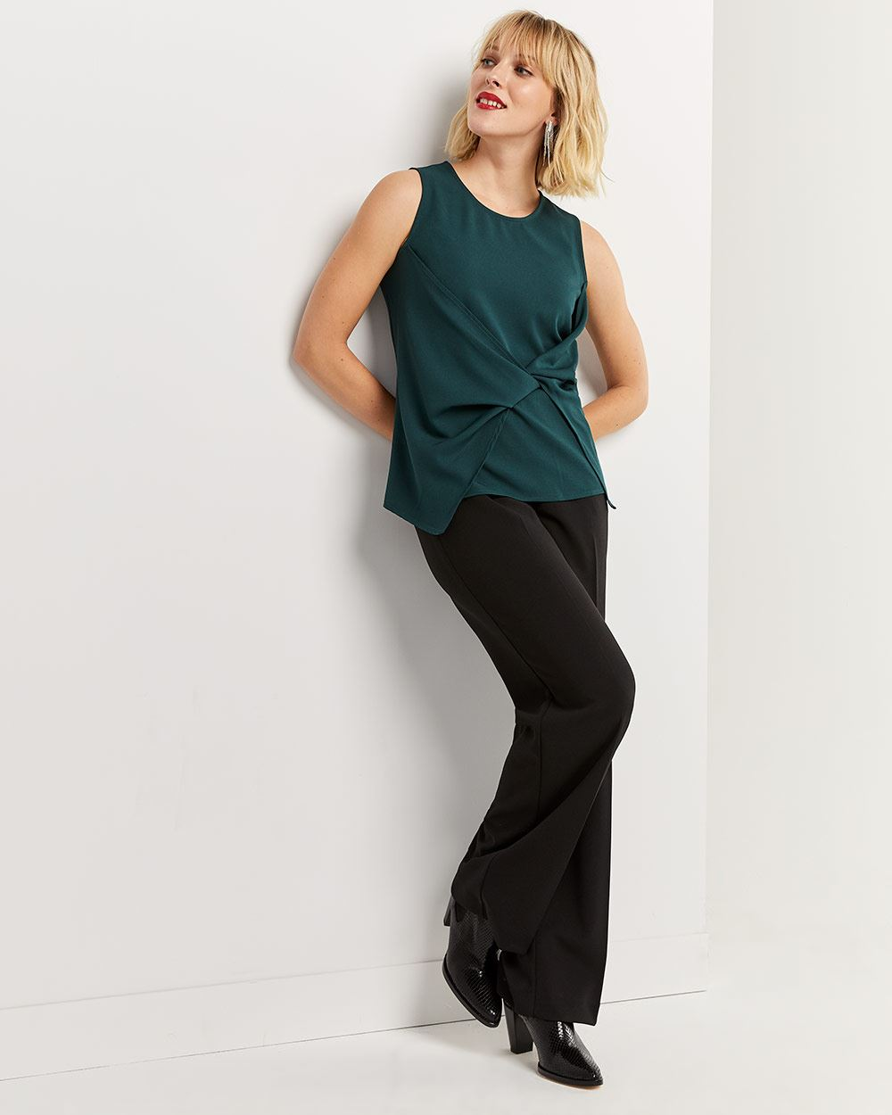 Sleeveless Blouse with Twisted Front