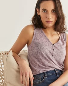 Buttoned V-Neck Tank Top
