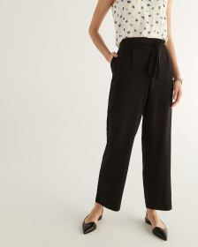 Wide Leg Black Pants with Sash - Petite