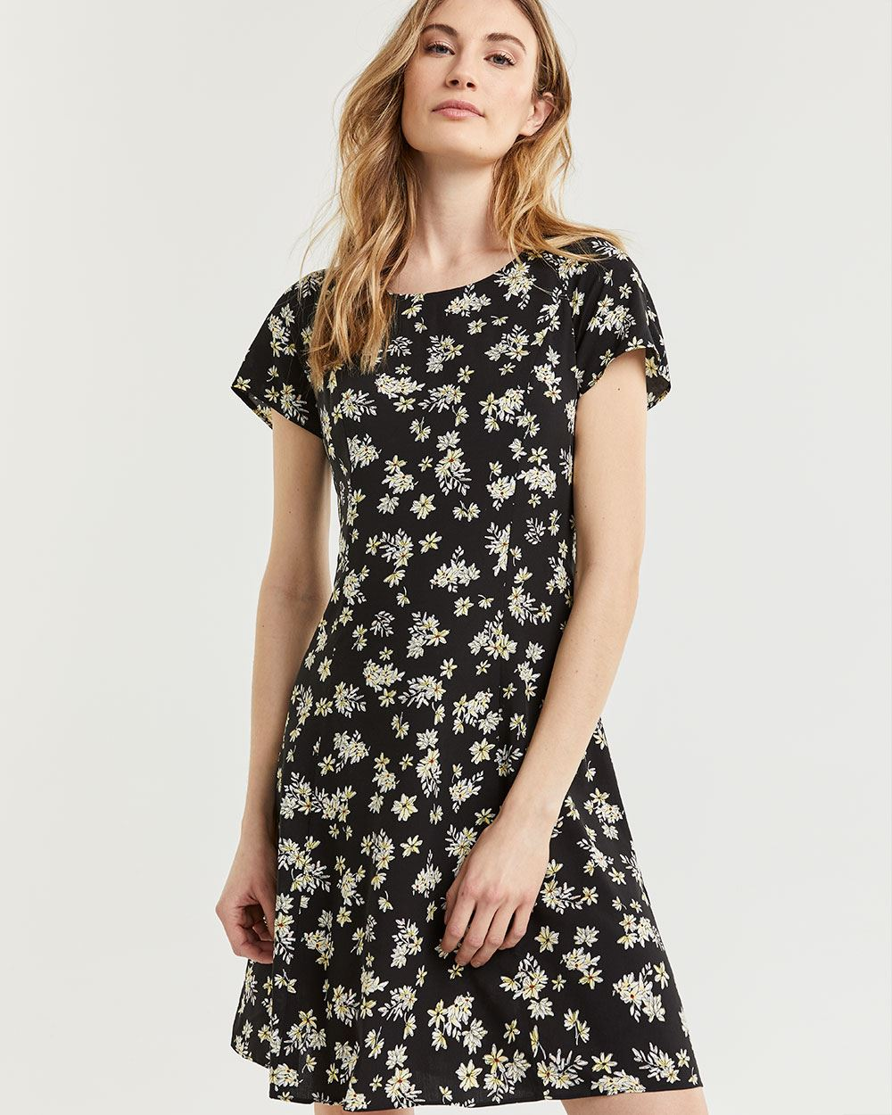 Printed Swing Dress with Lace-Up Back