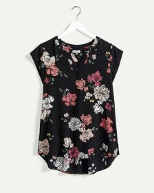 Short Sleeve Split Neck Printed Blouse R Essentials