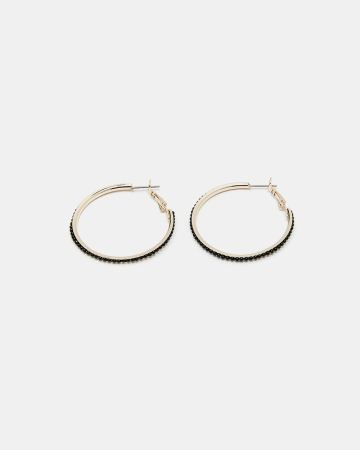 Beaded Medium Hoop Earrings