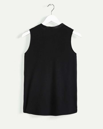 Sleeveless Bow Neck Mix Media Top - Petite