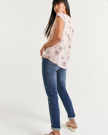 Split Neck Short Sleeve Blouse - Petite