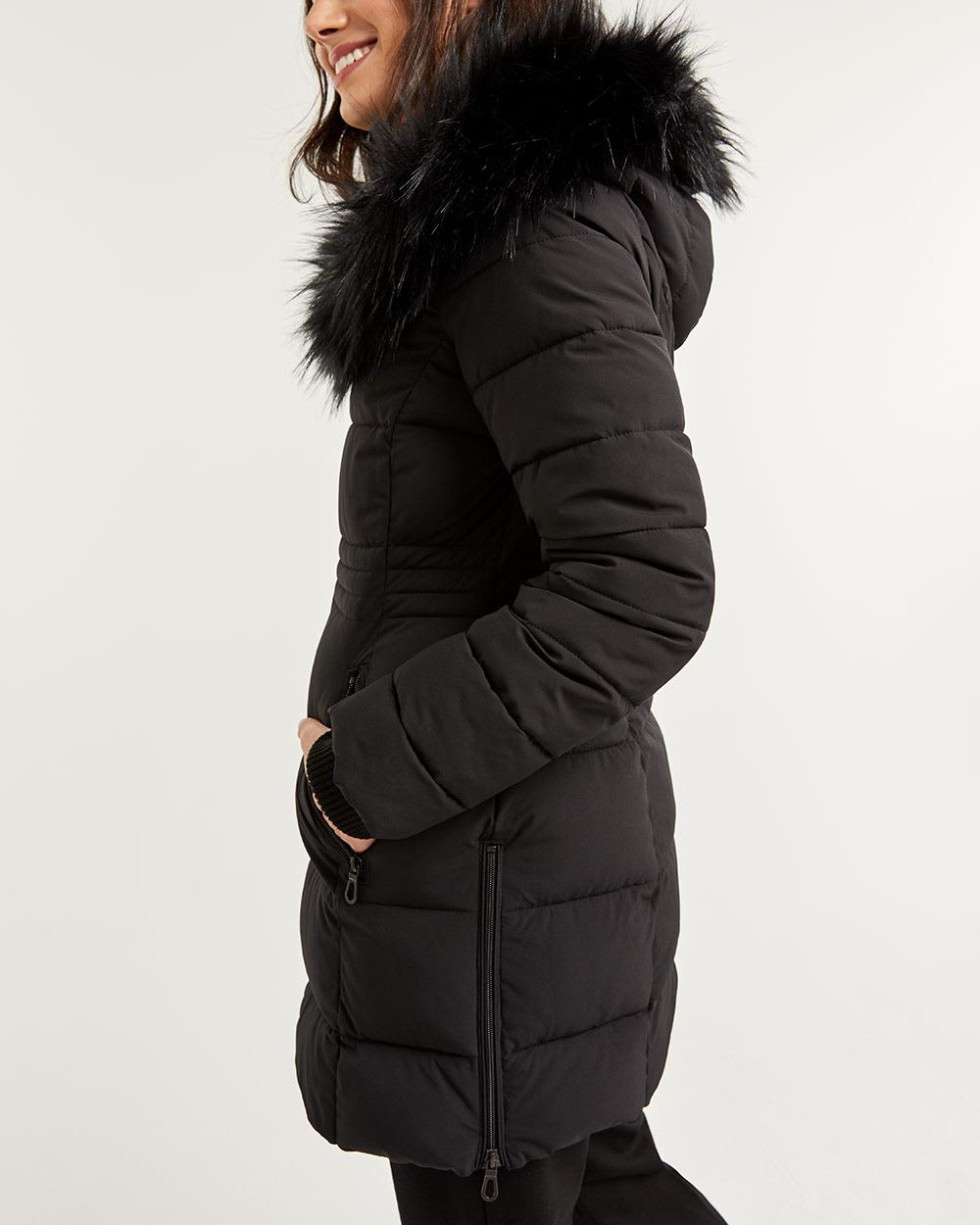 Faux Fur Hooded Quilted Winter Coat