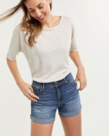 Denim Shorts with Rolled Cuffs and Rip Details
