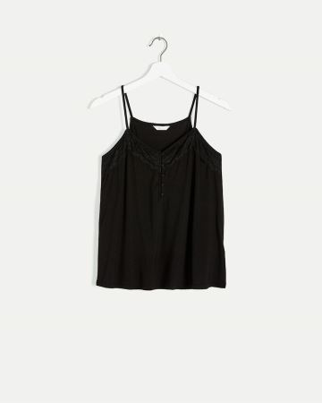 V-Neck Cami with Lace Trim
