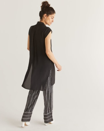 Black Cap Sleeve High-Low Tunic