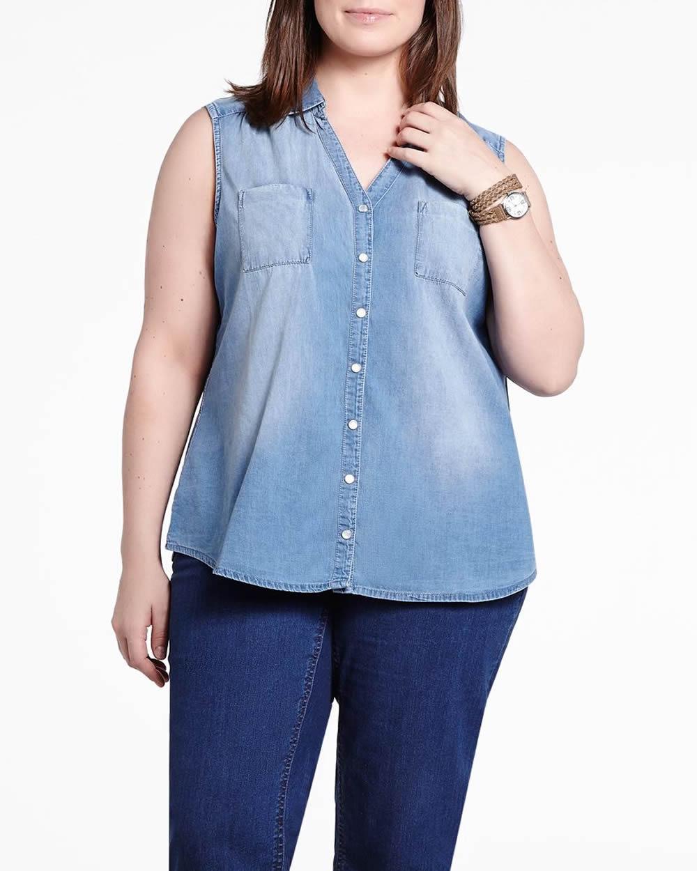 plus size sleeveless denim shirt | plus sizes | shop online at