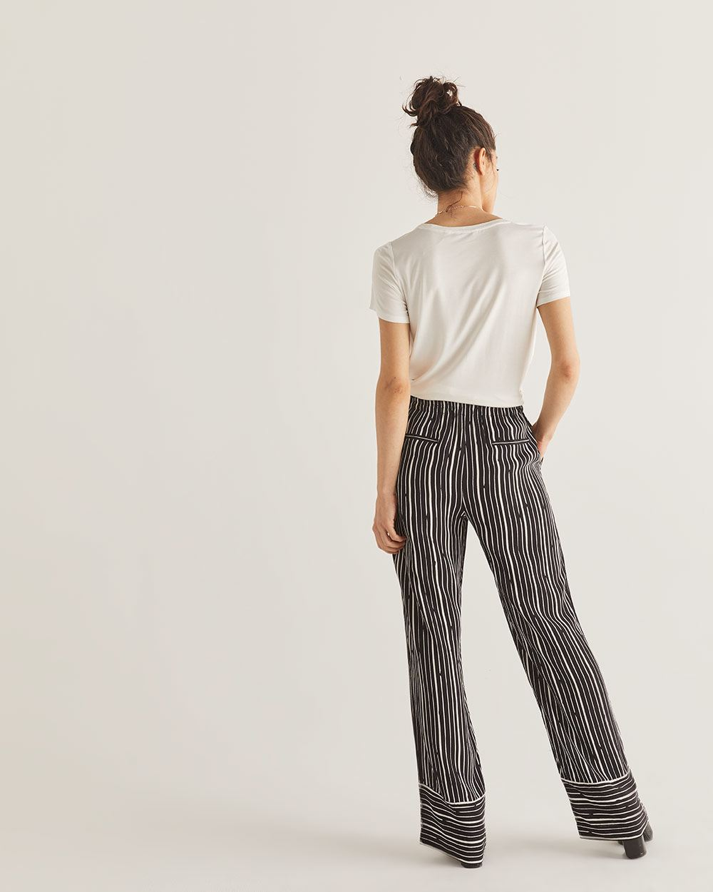 Striped Wide Leg Pull On Pants