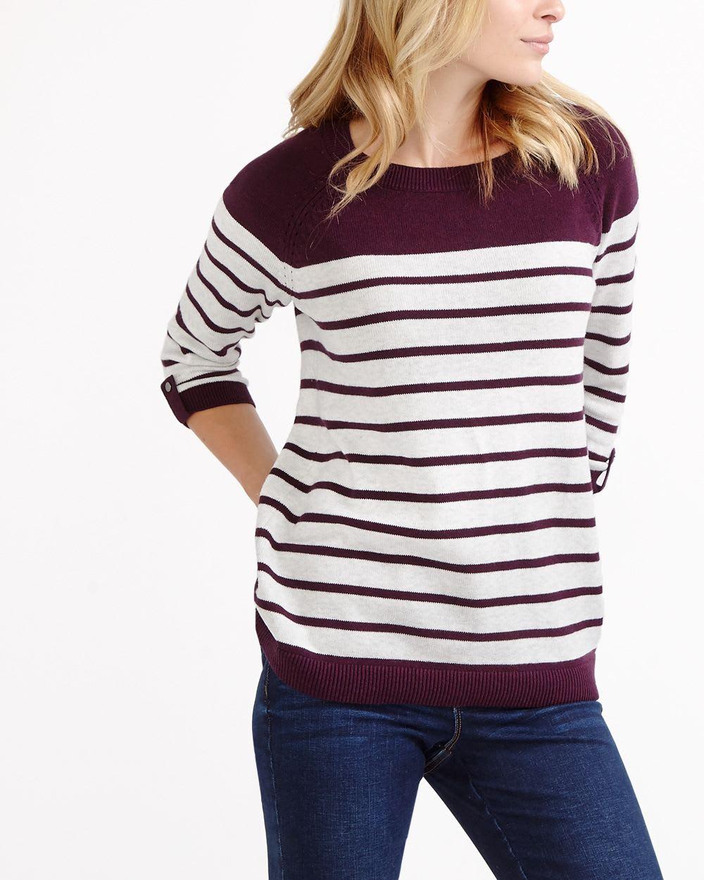 0f0643613b9 ¾ Sleeve Striped Sweater