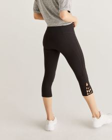 Hyba Black Capri Leggings with Lattice Details