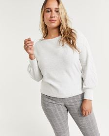 Balloon Sleeve Sweater with Cable Patterns