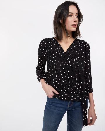 3/4 Sleeve Wrap Blouse