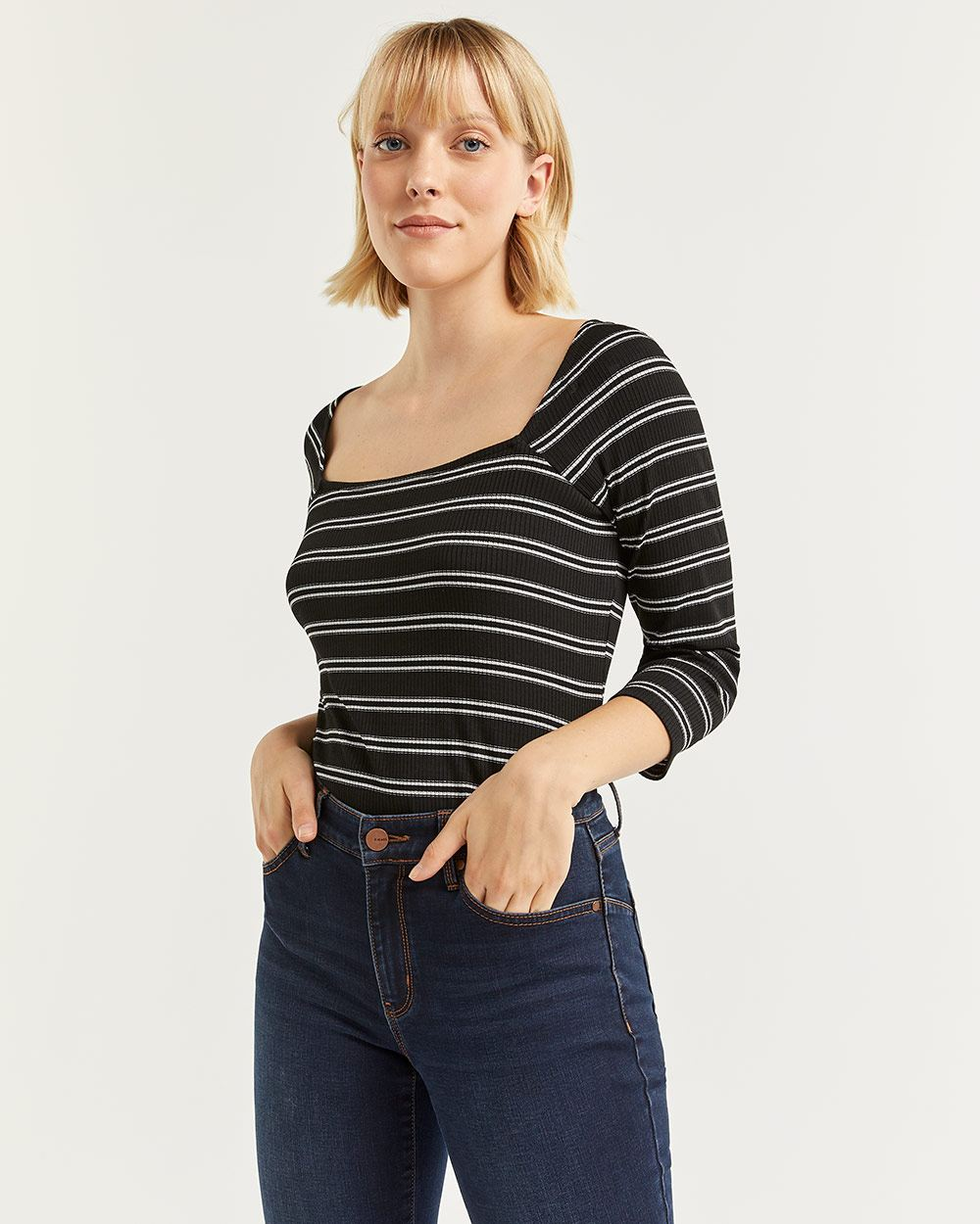 3/4 Sleeve Lurex Striped Tee
