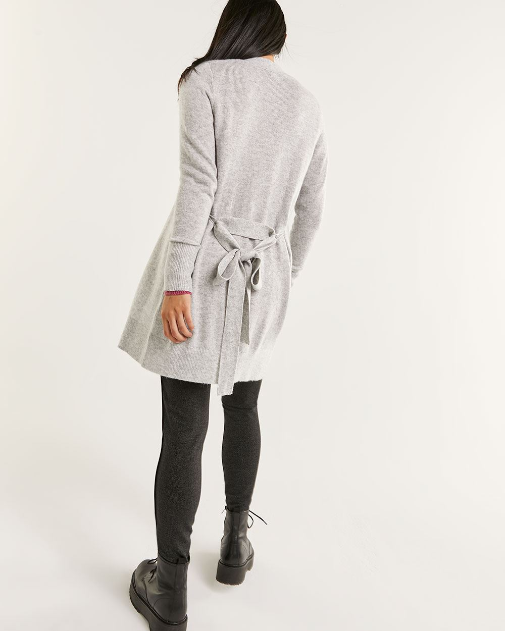 Long Sleeve Cashmere Blend Cardigan with Belt