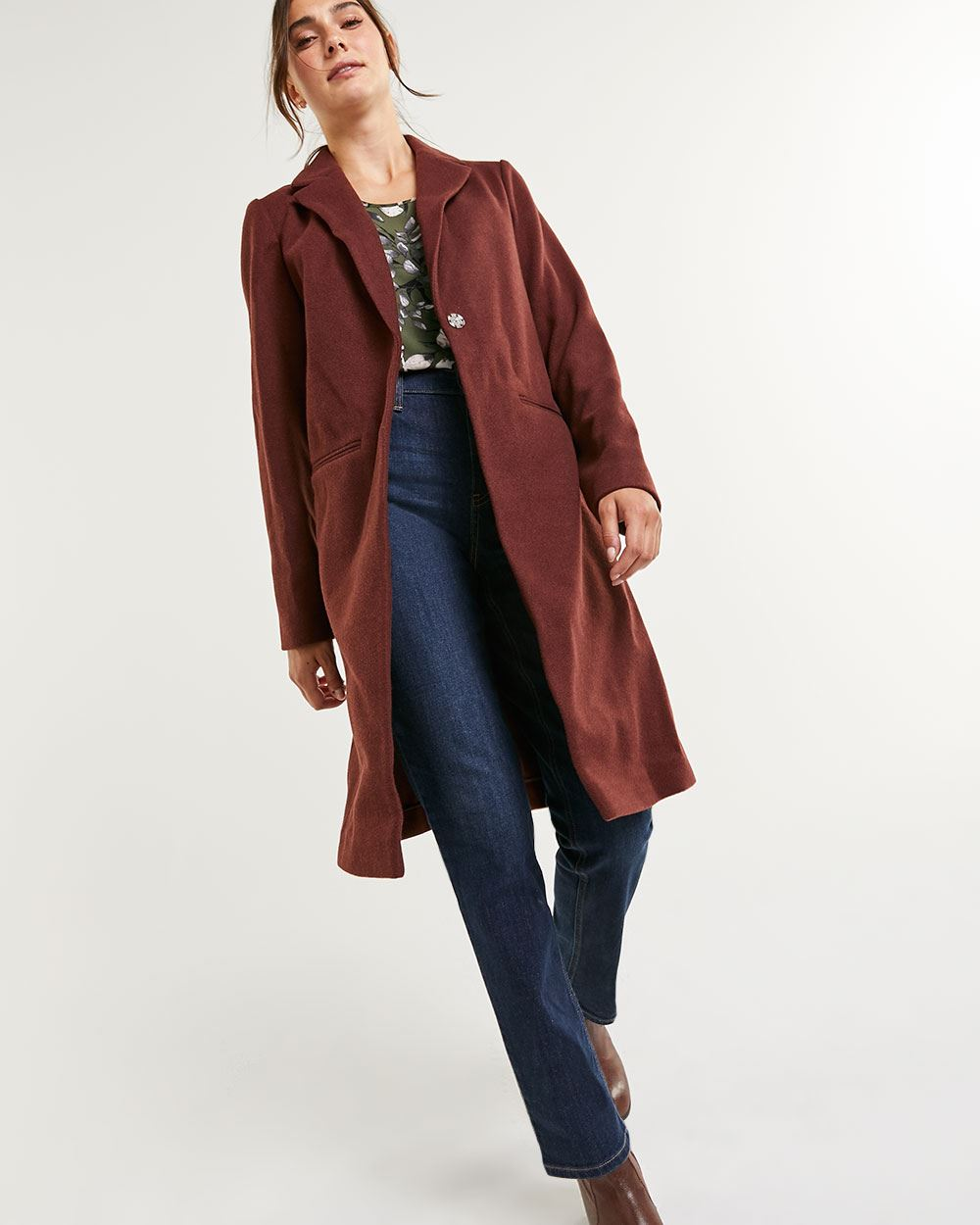 Unlined Jacquard Overcoat