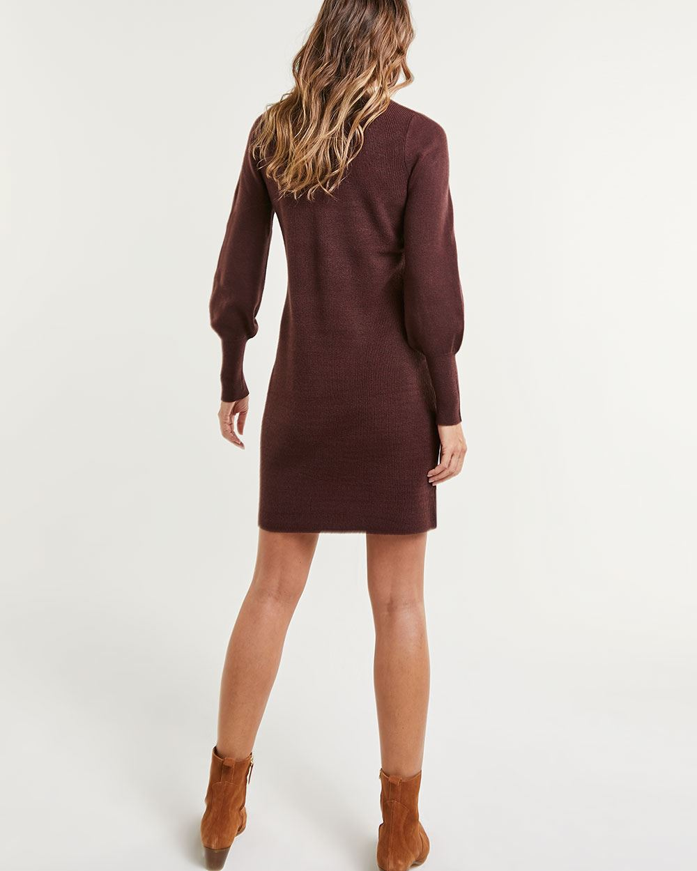 Puffed Sleeve Bodycon Dress with Buttons at Shoulders