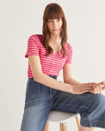 Striped Cotton-Blend Rib Tee