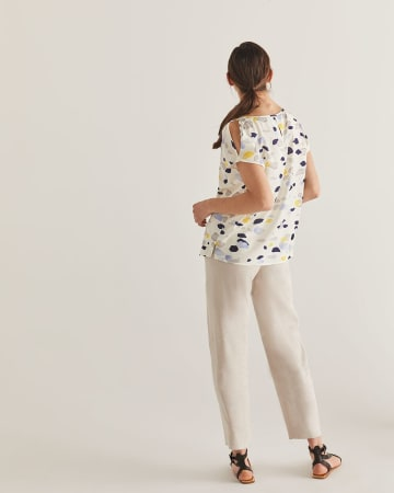 Willow & Thread Printed Cold-Shoulder Blouse