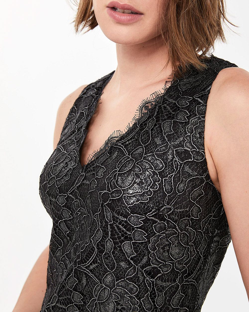 Sleeveless Metallic Lace Blouse