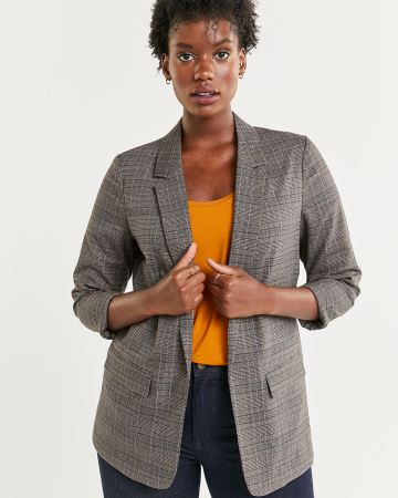 Tailored Collar Plaid Unlined Blazer with Pockets