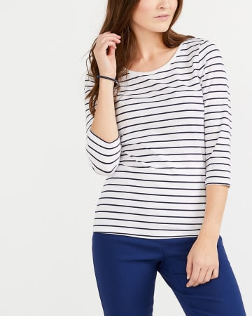 R Essentials ¾ Sleeve Striped Top