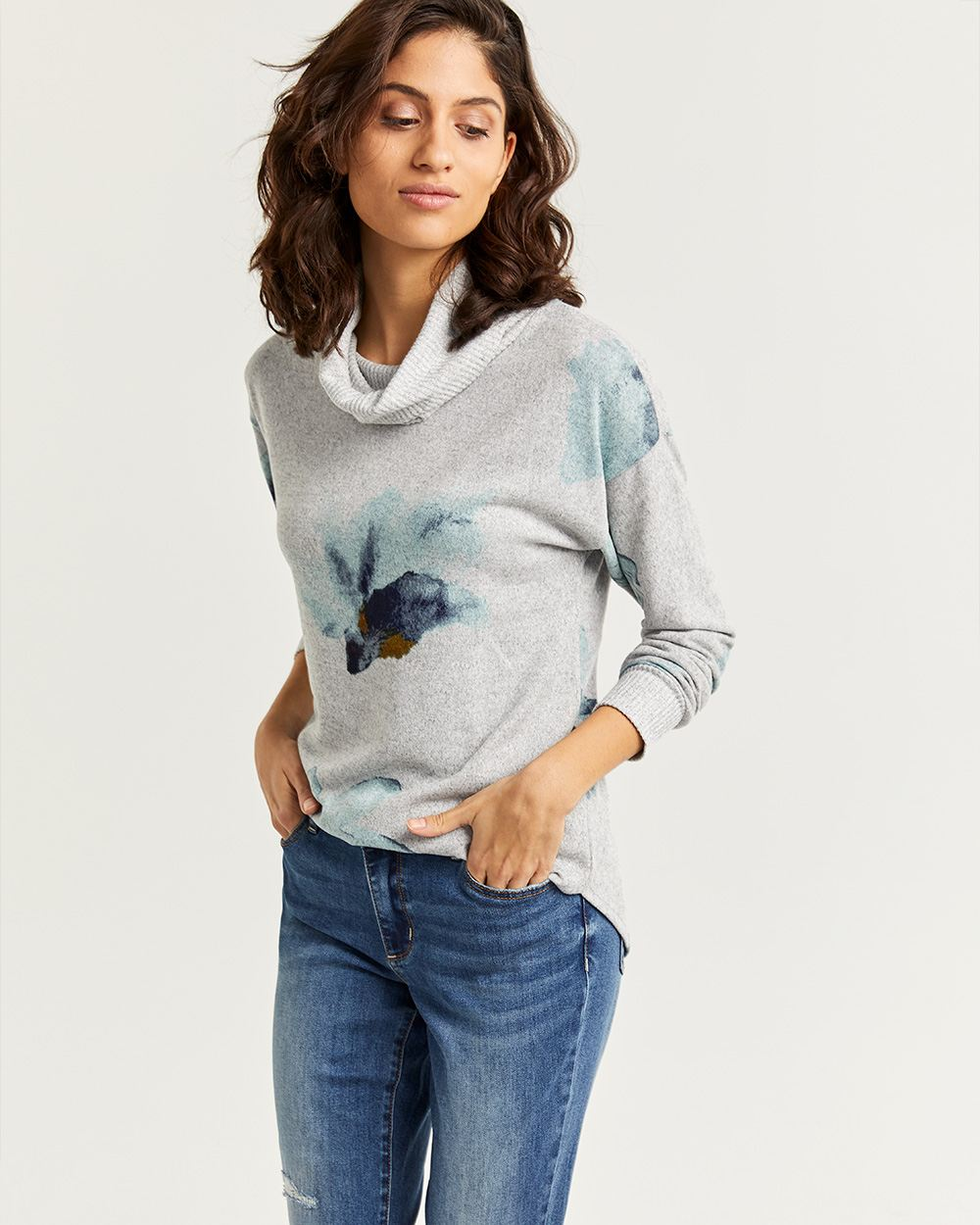 Long Sleeve Printed Ribbed Tee with Cowl Neck