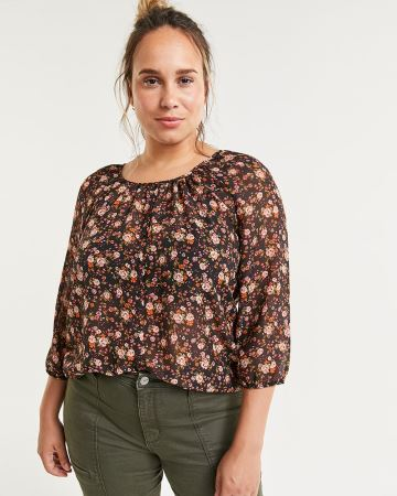 3/4 Sleeve Floral Print Blouse with Decorative Buttons