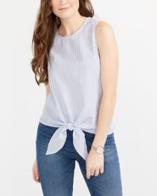 Sleeveless Big Tie Striped Blouse