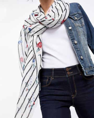 Stripes and Floral Print Scarf