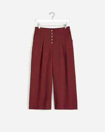 Wide Cropped Pants with Button Fly