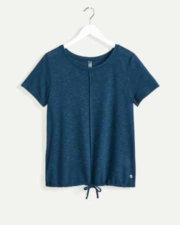 Short Sleeve Crew Neck Tee with Drawstring Hyba