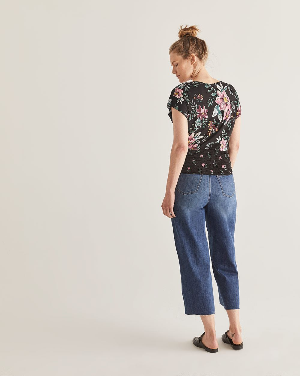 Buttoned-Down Printed Top with Smocking - Petite