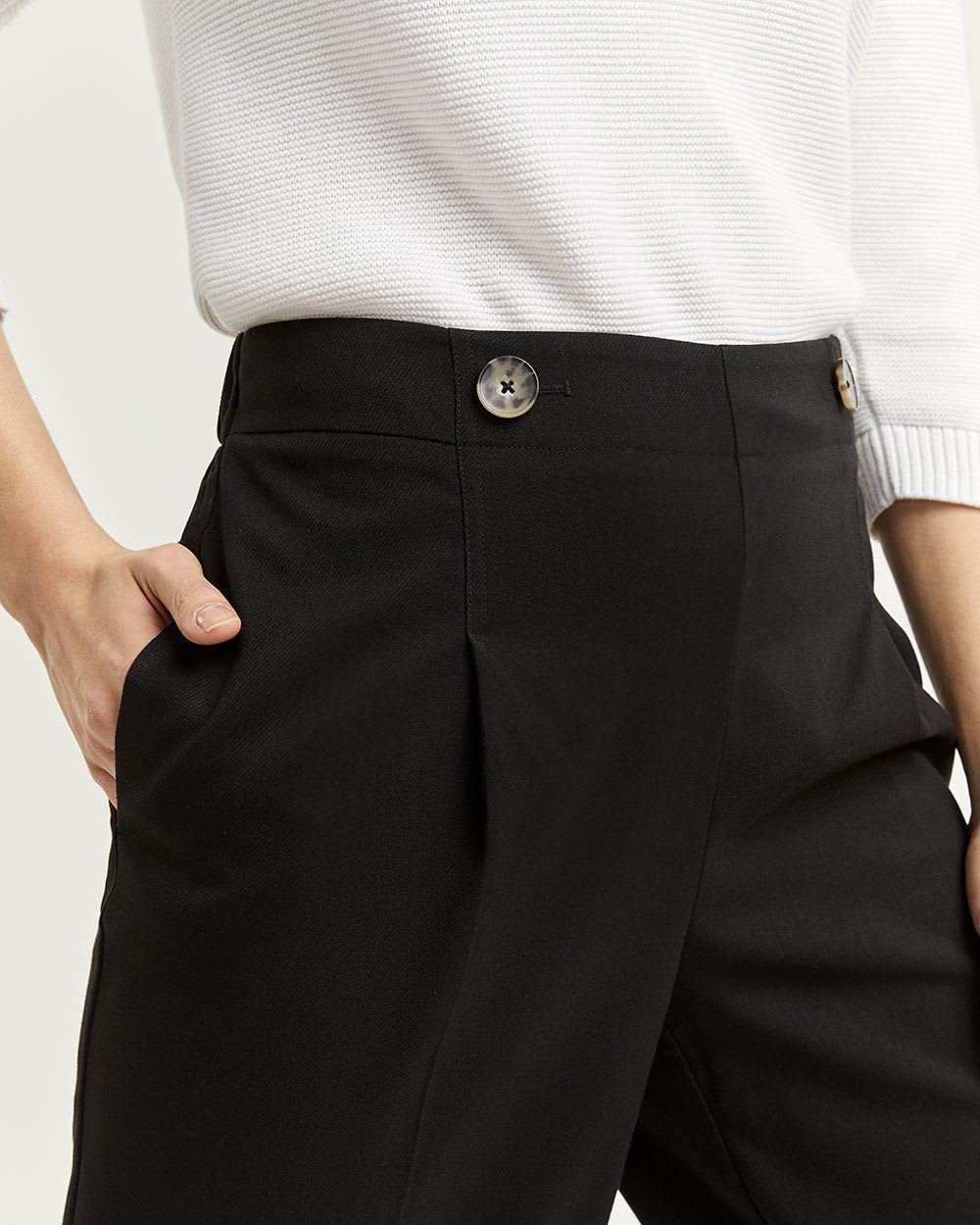 Wide Cropped Pants with Button Details