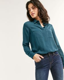 Long Sleeve Blouse with Pockets