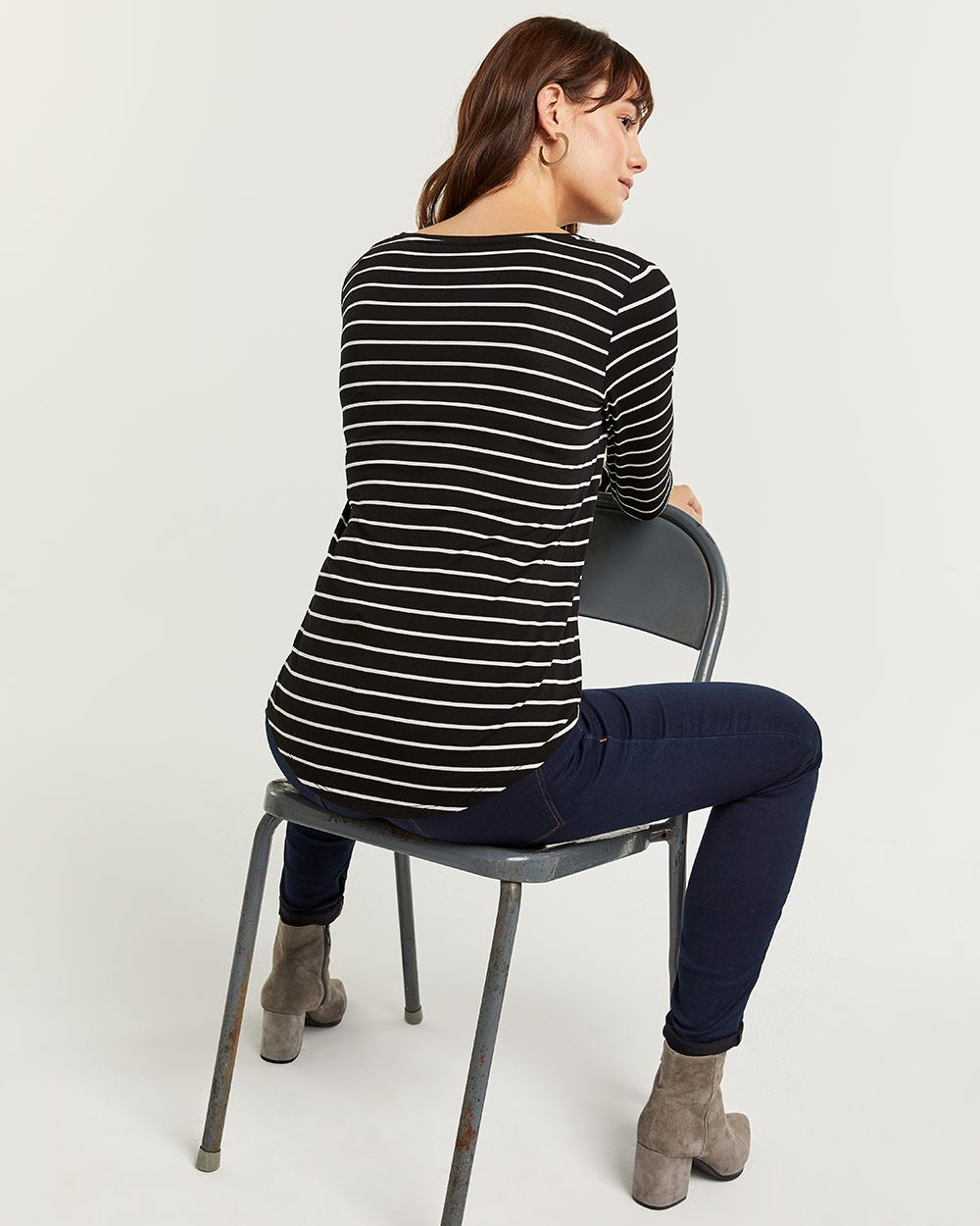 R Essentials Striped Long Sleeve Tee