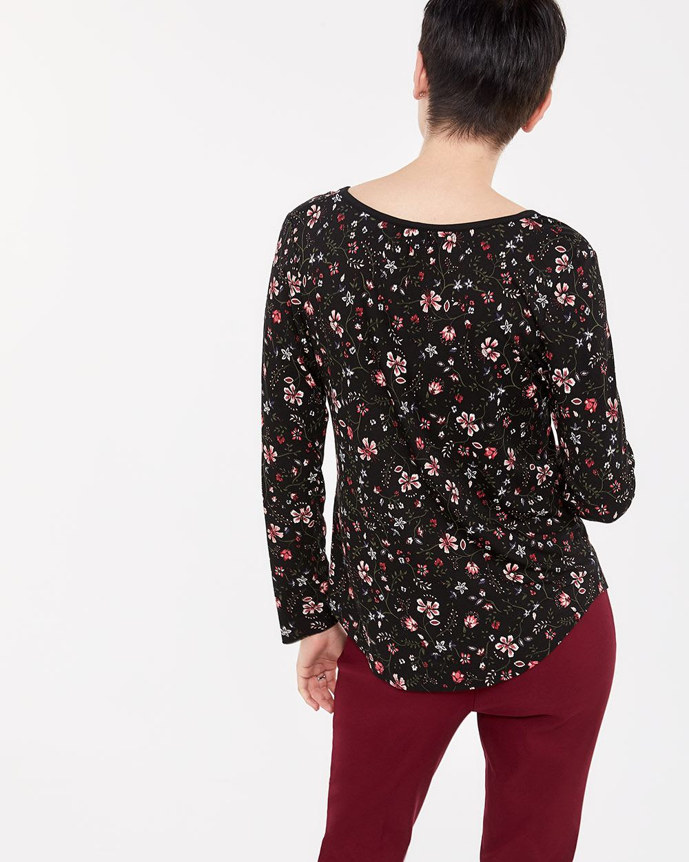 Roll-Up ¾ Sleeve Printed Henley Top