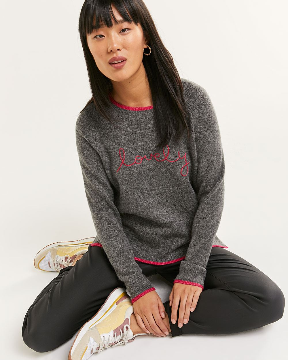 Long Sleeve Embellished Sweater - Petite