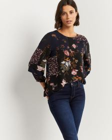 Floral Print Blouse with Tiered Sleeves