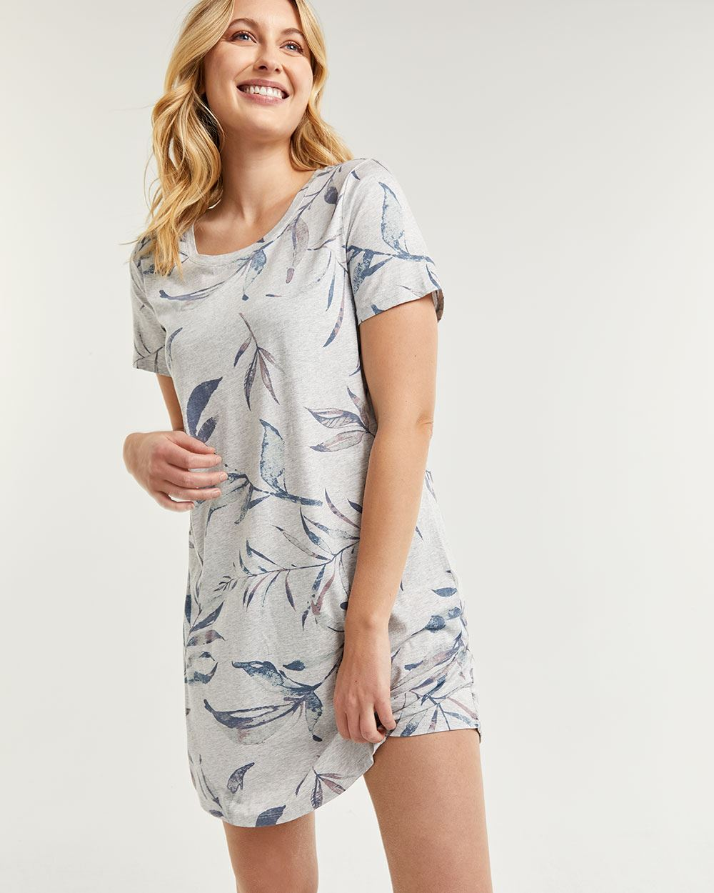 Printed Short Sleeve Sleep Shirt
