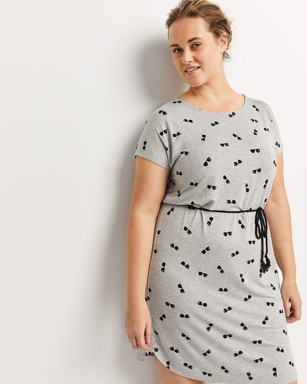 Short Sleeve Printed Shift Dress with Braided Cord