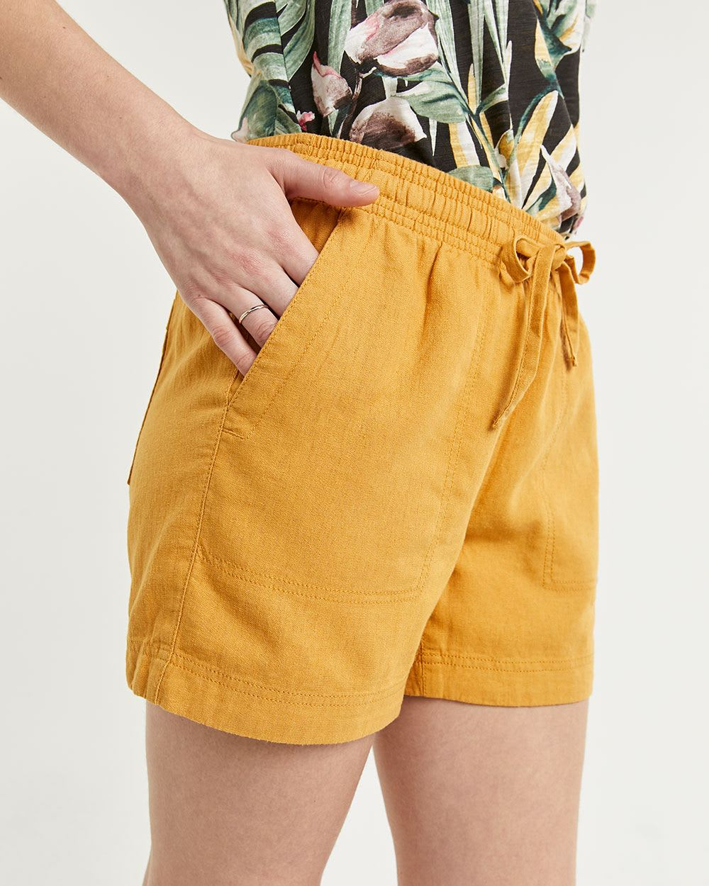 Linen-Blend Pull On Shorts