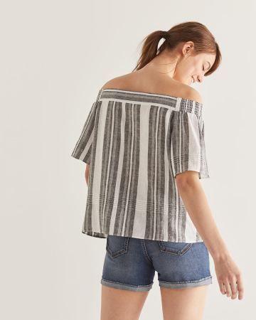 Linen-Blend Stripe Off-the-shoulder Blouse