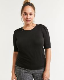 Elbow Sleeve Crew Neck Sweater