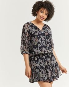 3/4 Sleeve Floral Print Ruffle Dress with Elastic Waist