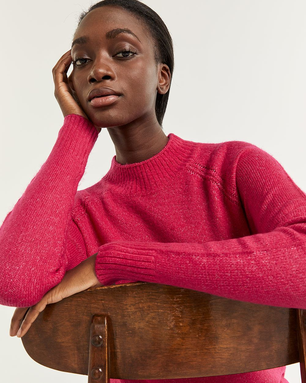 Mock Neck Sweater with Pointelle Detail