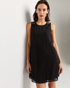 Sleeveless Shift Dress with Lace Inserts